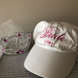 Bachelorette bride hat, tiara, and veil bundle